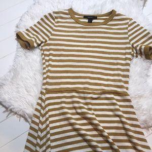 Mustard Yellow Striped Skater Dress